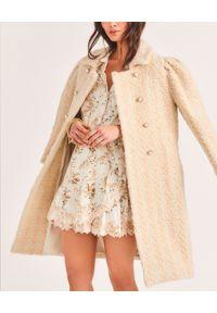 LOVE SHACK FANCY - Beżowy wełniany płaszcz Armstrong. Kolor: beżowy. Materiał: wełna. Długość rękawa: długi rękaw. Długość: długie