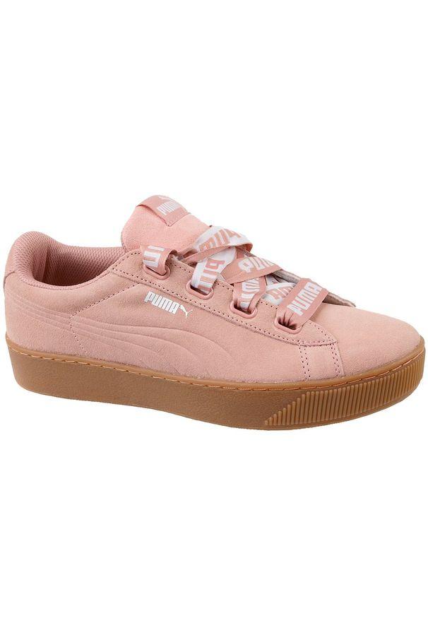 Różowe buty sportowe Puma na platformie, z cholewką
