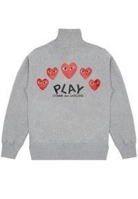COMME DES GARCONS PLAY - Szara bluza z czerwonymi sercami. Typ kołnierza: bez kaptura. Kolor: szary. Materiał: bawełna. Długość rękawa: długi rękaw. Długość: długie #6