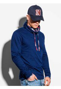 Ombre Clothing - Bluza męska ze stójką B1015 - granatowa - XXL. Typ kołnierza: kołnierzyk stójkowy. Kolor: niebieski. Materiał: dresówka, bawełna, dzianina, materiał, poliester. Wzór: kratka