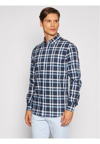 Tommy Hilfiger Tailored Koszula Multi Check MW0MW18972 Granatowy Regular Fit. Kolor: niebieski