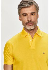 Żółta koszulka polo TOMMY HILFIGER polo, krótka