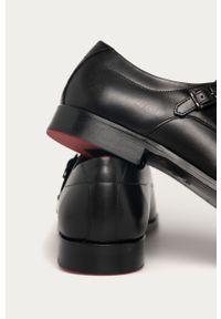 Czarne półbuty Hugo eleganckie, z okrągłym noskiem