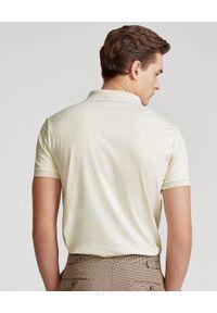 Ralph Lauren - RALPH LAUREN - Beżowa koszulka polo Custom Slim Fit. Typ kołnierza: polo. Kolor: beżowy. Materiał: tkanina, bawełna, prążkowany. Wzór: haft #5