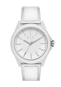 Emporio Armani - Zegarek AX2630. Kolor: biały. Materiał: tworzywo sztuczne, materiał
