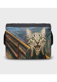 MegaKoszulki - Torba na ramię duża Cat Scream Paint. Wzór: paski, nadruk