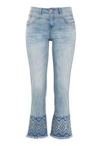 Cream Dżinsy do kostki z haftem Analis denim blue female niebieski W32. Kolor: niebieski. Długość: krótkie. Wzór: haft