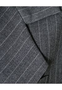 AGGI - Długa marynarka w prążki. Typ kołnierza: dekolt gorset. Kolor: szary. Materiał: materiał. Długość rękawa: długi rękaw. Długość: długie. Wzór: prążki. Styl: elegancki