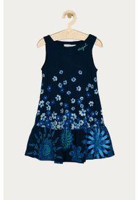 Niebieska sukienka Desigual na ramiączkach, rozkloszowana