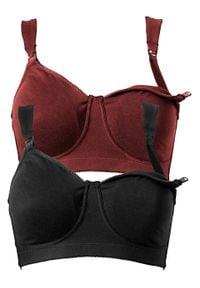 Biustonosz do karmienia piersią, bez fiszbinów (2 pary), bawełna organiczna bonprix czerwony kasztanowy + czarny. Kolor: czerwony. Materiał: bawełna
