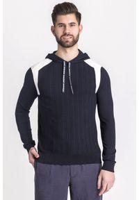 Sweter Emporio Armani z kapturem, w kolorowe wzory