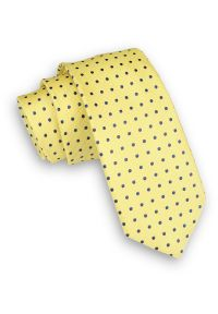 Alties - Żółty Klasyczny Męski Krawat -ALTIES- 6cm, w Granatowe Kropki, Groszki, Kanarkowy. Kolor: niebieski, złoty, żółty, wielokolorowy. Materiał: tkanina. Wzór: grochy. Styl: klasyczny