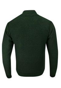 Lasota - Sweter Zielony, Butelkowy, Zapinany na Zamek, Dziergany, ze Ściągaczami, Elegancki -LASOTA. Kolor: zielony. Materiał: bawełna, akryl. Sezon: zima, jesień. Styl: elegancki #3