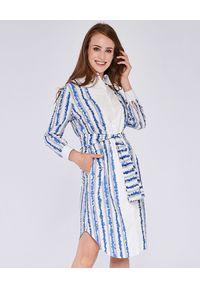 THECADESS - Bawełniana sukienka koszulowa Kate. Okazja: na co dzień. Kolor: biały. Materiał: bawełna. Typ sukienki: koszulowe. Styl: elegancki, casual. Długość: midi