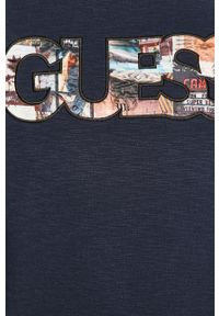 Niebieska bluza nierozpinana Guess z nadrukiem, na co dzień