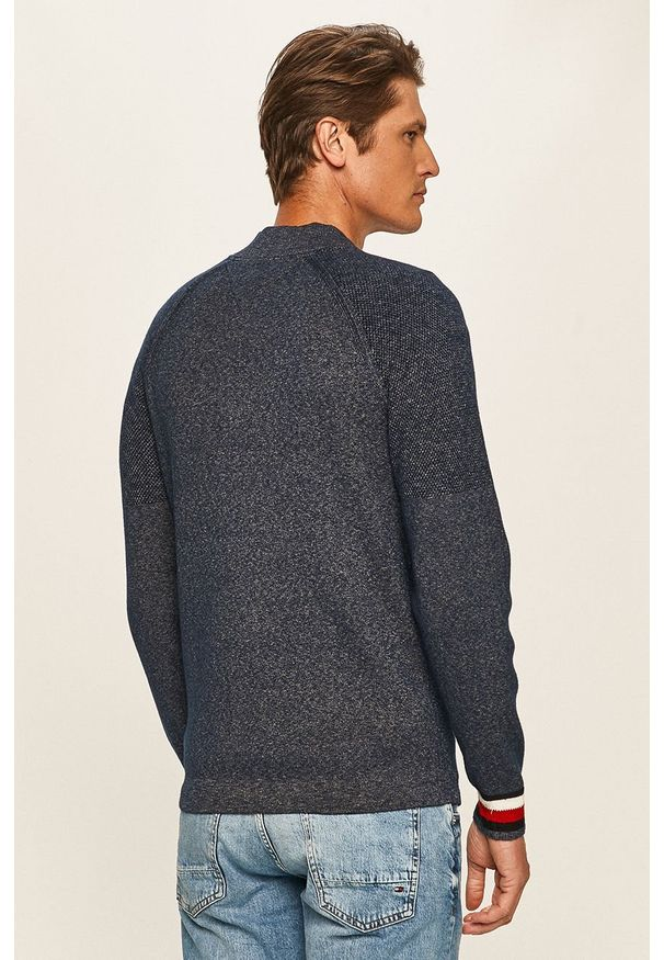 Niebieski sweter rozpinany TOMMY HILFIGER z aplikacjami, raglanowy rękaw