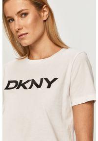 Biała bluzka DKNY z nadrukiem, casualowa, na co dzień