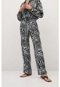 Czarne spodnie materiałowe mango z podwyższonym stanem, z motywem zwierzęcym