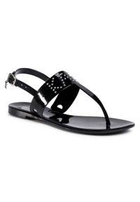 Czarne sandały Karl Lagerfeld na co dzień, casualowe, z aplikacjami