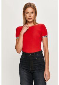 Czerwona bluzka TALLY WEIJL z okrągłym kołnierzem, casualowa, na co dzień
