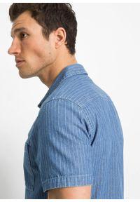 """Koszula dżinsowa z krótkim rękawem, Slim Fit bonprix niebieski """"bleached"""" w paski. Kolor: niebieski. Długość rękawa: krótki rękaw. Długość: krótkie. Wzór: paski"""