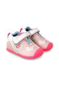 Różowe buty sportowe Biomecanics na rzepy, z cholewką, z okrągłym noskiem