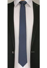 Wyszukany Krawat Męski w Ukośne Paski, Prążki - 6 cm - Angelo di Monti, Granatowy. Kolor: niebieski. Wzór: prążki, paski. Styl: elegancki