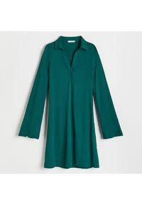 Reserved - Sukienka z wiskozy - Turkusowy. Kolor: turkusowy. Materiał: wiskoza