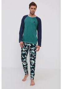 United Colors of Benetton - Piżama. Kolor: zielony. Materiał: dzianina. Długość: długie. Wzór: aplikacja