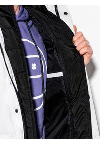 Ombre Clothing - Kurtka męska zimowa C449 - biała - XXL. Typ kołnierza: kołnierzyk stójkowy. Kolor: biały. Materiał: poliester. Sezon: zima