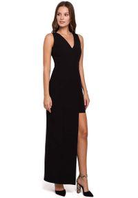 Czarna sukienka wieczorowa MAKEOVER z asymetrycznym kołnierzem, asymetryczna, maxi