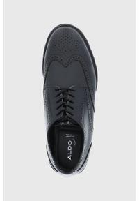 Aldo - Półbuty skórzane Helmsman. Nosek buta: okrągły. Zapięcie: sznurówki. Kolor: czarny. Materiał: skóra