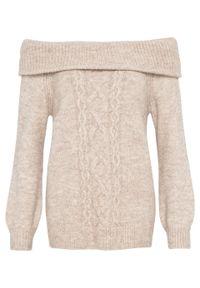 Beżowy sweter bonprix z kołnierzem typu carmen, melanż