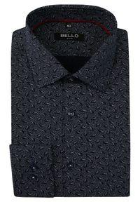 Niebieska elegancka koszula Bello z długim rękawem, paisley, na spotkanie biznesowe