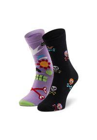 Dots Socks - Skarpety Wysokie Unisex DOTS SOCKS - DTS-SX-486-X Czarny Fioletowy. Kolor: czarny, wielokolorowy, fioletowy. Materiał: elastan, poliamid, bawełna, materiał
