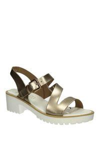 Złote sandały S.Barski na lato, eleganckie, na co dzień