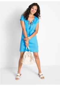 Sukienka z dżerseju z fantazyjnej przędzy bonprix turkusowy. Okazja: na plażę. Kolor: niebieski. Materiał: jersey. Wzór: haft, aplikacja. Sezon: lato