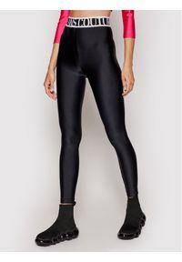 Versace Jeans Couture Legginsy Shiny Lycra Sumatra 71HAC101 Czarny Slim Fit. Kolor: czarny. Materiał: lycra