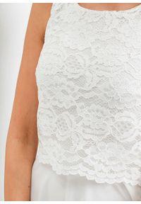 Sukienka szyfonowa z koronką bonprix biel wełny. Kolor: biały. Materiał: szyfon, wełna, koronka. Wzór: koronka. Styl: wizytowy