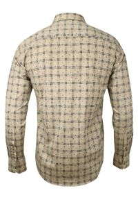 Beżowa elegancka koszula Rigon długa, do pracy, z długim rękawem, w kratkę