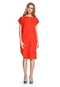 Czerwona sukienka MOE prosta, z krótkim rękawem