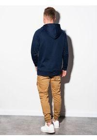 Ombre Clothing - Bluza męska z kapturem B1085 - granatowa - XXL. Typ kołnierza: kaptur. Kolor: niebieski. Materiał: poliester, bawełna #3