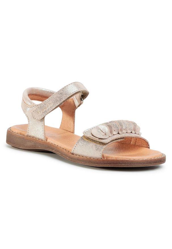 Złote sandały Froddo casualowe, na lato, z aplikacjami, na co dzień