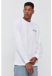 Vans - Longsleeve bawełniany. Kolor: biały. Materiał: bawełna. Długość rękawa: długi rękaw. Wzór: nadruk