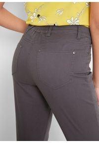Spodnie rybaczki ze stretchem, wygodnym paskiem i guzikami bonprix szary łupkowy. Kolor: szary