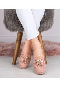 DANIC - Mokasyny damskie Danic L7195 Różowe. Zapięcie: bez zapięcia. Kolor: różowy. Materiał: guma. Obcas: na obcasie. Wysokość obcasa: średni, niski