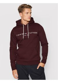 TOMMY HILFIGER - Tommy Hilfiger Bluza Logo MW0MW11599 Bordowy Regular Fit. Kolor: czerwony