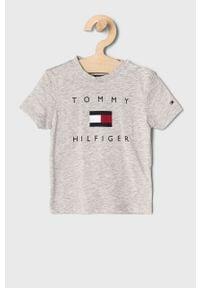 Szary t-shirt TOMMY HILFIGER na co dzień, casualowy, z nadrukiem
