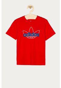 Czerwony t-shirt adidas Originals z nadrukiem, na co dzień, casualowy