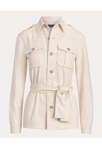 Ralph Lauren - RALPH LAUREN - Flanelowa koszula z paskiem. Okazja: na co dzień. Typ kołnierza: polo. Kolor: beżowy. Materiał: bawełna. Długość rękawa: długi rękaw. Długość: długie. Styl: klasyczny, casual